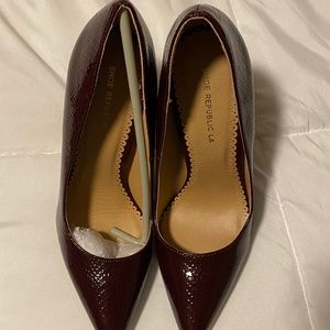 Shoe Republic Dark Red Faux Snake Skin Heels